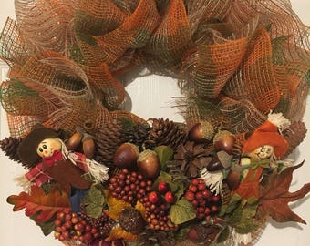 FREE SHIPPING Fall harvest wreath