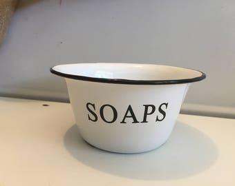 Black & White Enamel Soaps Bowl~Decorative Farmhouse Bathroom Sink Decor