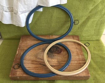 Lot of 3 Vintage Plastic/Rubber Embroidery Hoops~Crafts~Home Decor~Wall Decor