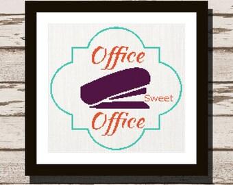 Office Sweet Office Cross Stitch Pattern office modern cross stitch pattern easy cross stitch pattern office xstitch gift DIY office decor