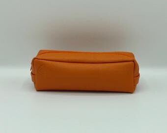 Square Orange leather clutch