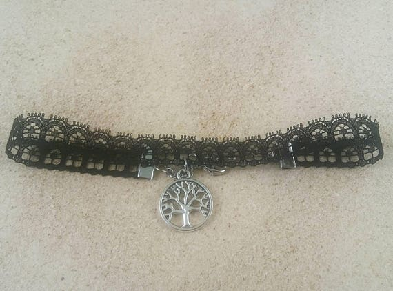 Black choker, black lace choker, Tree of Life choker, Bohemian Choker, Summer Choker, Minimal necklace, Tree of Life Jewelry, gift for her