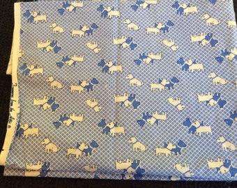 Blue Scottie Dog Fabric