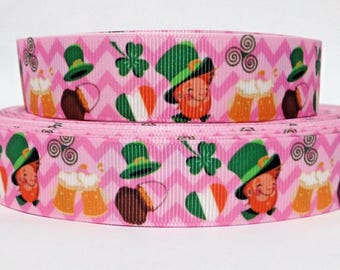 """GROSGRAIN RIBBON 7/8"""" St. Patrick's Day Leprechaun Clover H43 Printed By the Yard (Buy Another One, Add to Cart, Save on Combine Shipping)"""