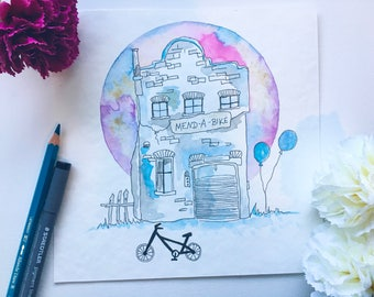 "Signed art print illustration ""Bike House""-Bicycle house"