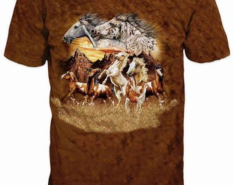 New ultramodern 3D  High Quality  Print Horse Real Nature short Sleeve t-shirt