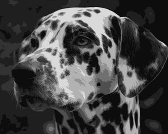 Dalmatian, Layered Papercut Template, Dog Papercutting Portrait, Pet Portrait, Personal Use, Commercial Use