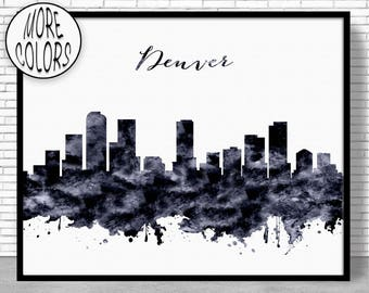 Denver Print, Denver Skyline, Denver Colorado, Office Prints, Office Art, Watercolor Skyline, Watercolor City Print, ArtPrintZone