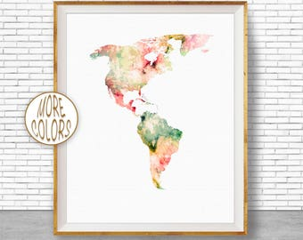 The Americas Map Living Room Decor The Americas Print Map Wall Art Print Travel Map Travel Decor Office Decor Office Wall ArtGift for Women