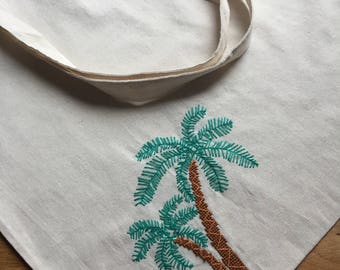 Canvas bag canvas tote bag with embroidered palm tree
