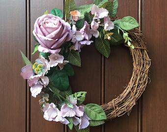 Front door wreath, vintage inspired wreath, purple, pink front door wreath, floral wreath
