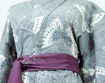 Vintage Kimono Robe - Women's Clothing/yukata/cotton robe/gray kimono/kimono jacket/dressing gown/boho kimono/coverup/kimono cardigan/poncho