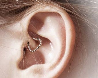 Rose Gold Plated Daith Piercing Half Braded Heart..16g..10mm(Right or Left Ear)