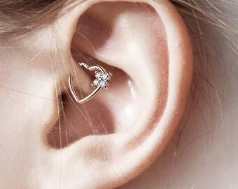 Rose Gold Daith Piercing,Surgical steel Heart cz's..16g(Left Ear)