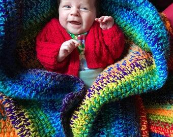 Hand Crochet Hippy Baby Afghan Blanket Multicolour