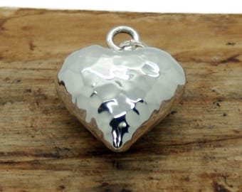 Sterling Silver Puffed Hammered Heart Pendant (NA15)