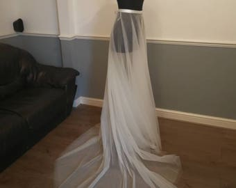 Separates Tulle Over Skirt  Adult Full Length Tutu Wedding Skirt Overlay with Satin Waistband Circle cut- Custom Made to Your Measurements