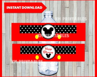 Printable Mickey Mouse Water Bottle labels instant download, Mickey Mouse party bottle labels, Printable Mickey Bottle labels