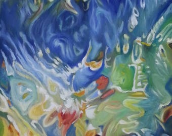 Under Water, Large Oil Painting, Hand Pained, Abstract Water Art, Original Large Canvas, Modern Art
