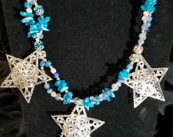 Handcrafted multi-stran beaded necklace