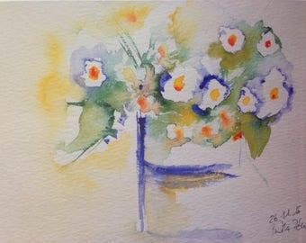 Watercolor - art print flowers painting bouquet watercolour print
