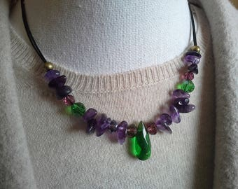 Natural jewelry amethyst purple necklace rustic wedding jewelry party green necklace