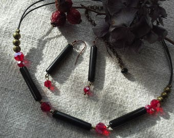 Natural jewelry red black jewelry onyx party nice jewelry romantic style