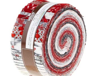 "Robert Kaufman Holiday Flourish 10 Scarlet Colorstory Roll Up/Jelly Roll by Peggy Toole - 40, 2.5"" of Precut Fabric Strips"