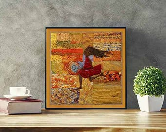 Handmade Living Room Wall Art Décor Inspired From Candido Portinari, Menina Do Catavento, Limited Edition Wall Art Print, Inspiring Art