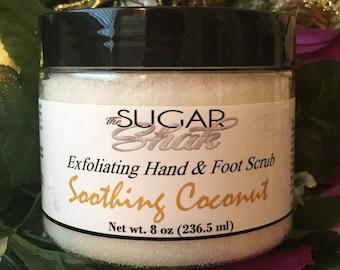 Soothing Coconut Hand & Foot Sugar Scrub / Handmade FREE SHIPPING (US)