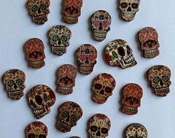 Skull Buttons, Sugar Skull Buttons, Day of The Dead, Mexican Sugar Skulls, Gothic Buttons, Cinco de mayo, Wooden Buttons, Craft Supplies