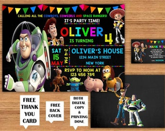 Toy Story Kids Birthday Invitations with FREE Thank You Card