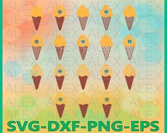 70% OFF, Ice Cream SVG Files, Ice Cream Monogram Svg Files, Silhouette Studio Files, Ice Cream Svg, Dxf, Png, Ai File, Instant Download