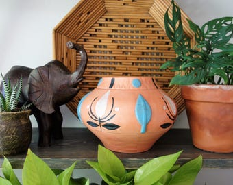 Vintage Hand Painted Ceramic Pottery Planter, Vase, Southwest Pottery, Southwestern, Boho, Vessel, Signed Pottery, Plant Holder