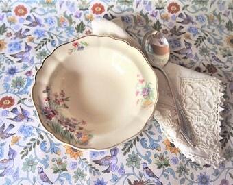 Set of 5 Vintage J&G Meakin England Rimmed Fruit / Desert Bowls Sunshine Floral Pattern 40s-60s Apollo Shape