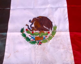 Mid Century 1950's Mexico Ceremonial Flag Embroidered Satin Bandera Mexicana Mexican
