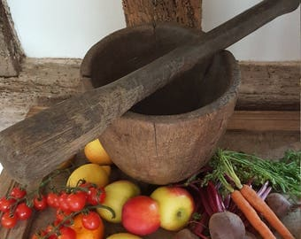 Primitive Antique, Rustic Wooden Pestle and Mortar