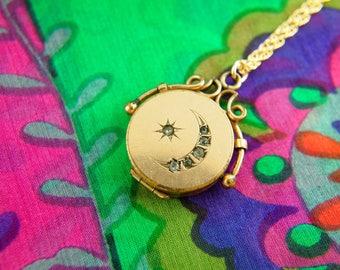 Moon Star Locket Necklace - Celestial Locket - Gold Filled Locket - Wedding Locket - Vintage Jewelry