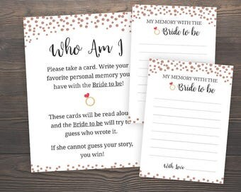 Rose Gold, Bridal Shower Games, Who am I, Printable Bridal Shower, Memories of the Bride Game, Memory Guessing Game, Printable Games, J012
