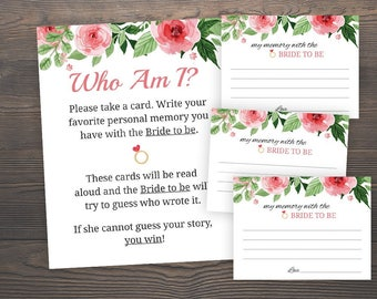 Who am I game, Bridal shower games, Floral bridal shower, Printable bridal shower, Memory of the bride, Memory Lane, Memory of bride, J003