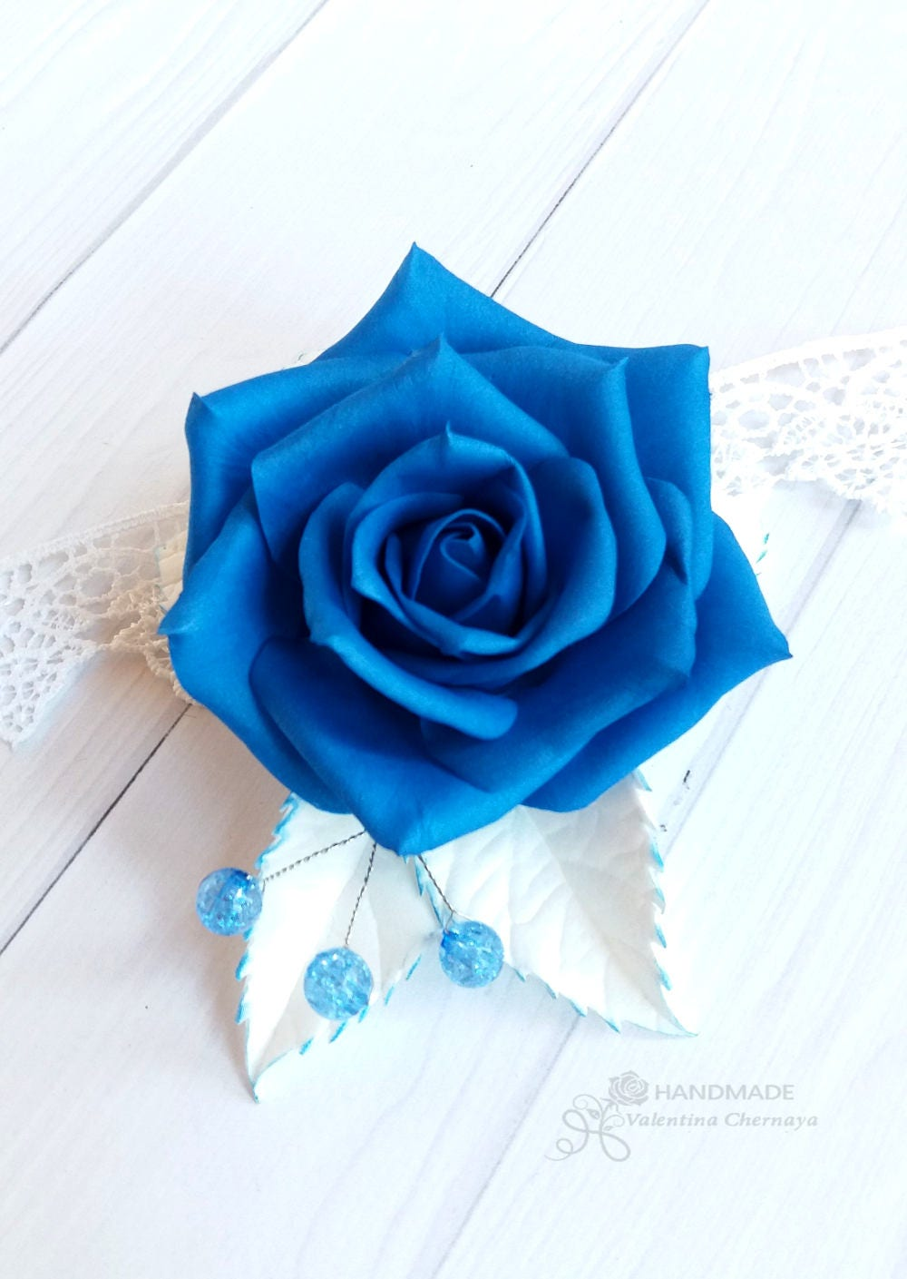 Royal blue flowers hair piece wedding headpiece blue hair royal blue flowers hair piece wedding headpiece blue hair accessories bridal floral hair clip prom rose izmirmasajfo Image collections