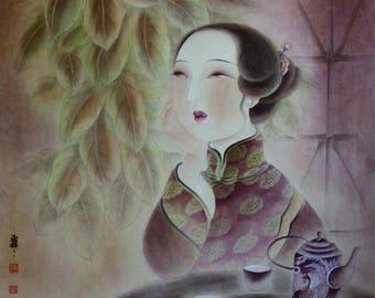 Asian Art, Asian Painting, Asian Wall Art, Asian Decor, Asian Art Decor, Asian Wall Decor, Asian Art Print, Chinese Lady Print