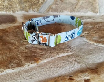 Jeep Puppy and Dog Collar, Regular or Martingale  (shown), Light Blue with Jeeps, Wildlife, Trees,Pond, Jeep Stars, in many sizes and widths