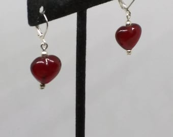Red heart glass bead earrings mounted on lever backs.  1 1/4 inches long. FREE SHIPPING