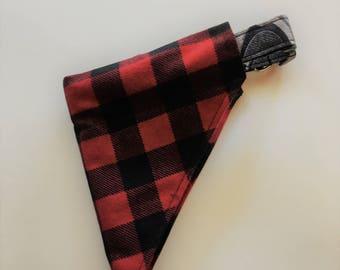 Buffalo Plaid Dog Bandana, Over the Collar Dog Bandana, Lumberjack Plaid Dog Bandana, Red Black Plaid Bandana