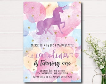 Unicorn Invitation, Unicorn Birthday Invitation Girl 1st First Birthday Party Invitation Watercolor Gold Glitter Printable Invitation Purple