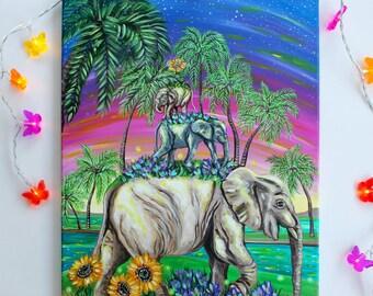 "ORIGINAL Acrylic painting ""Elephant stack"" 40x50 cm canvas, Vegan art"