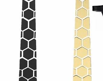 Dual side Black-Gold Hex Style Tie - Honeycomb  ( Suit Accessories - NeckTie, Hex Neck tie Style)