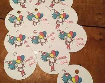 12 Dr Seuss Cat in the Hat Party Favor Thank You Tags (can be personalized)