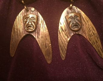 Small Pericles Hammered Brass Earrings With Theater Masks